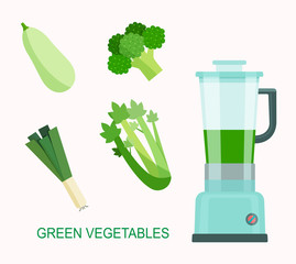 Green vegetable smoothie juice. Food processor, mixer, blender and vegetables. Flat style vector illustration.