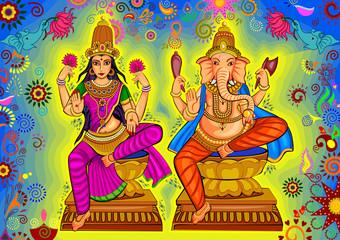 Goddess Lakshmi and Lord Ganesha for Diwali prayer