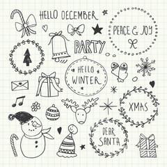 Christmas doodles set