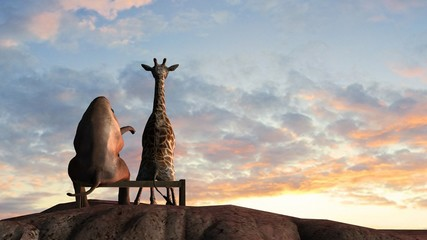 Elephant and Giraffe  on a mountain top sit on a bench at sunset