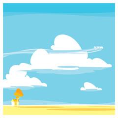 cartoon landscape. clouds