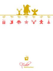 Weihnachtskarte Engel, Elch, Weihnachtsmann