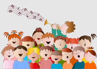 coro di bambini e trombettista