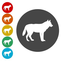 Silhouette wolf with, sign, logo