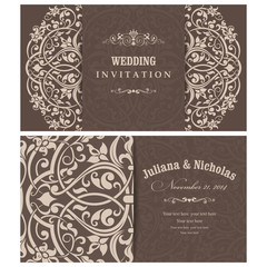 Wedding Invitation cards in an vintage-style brown and beige.