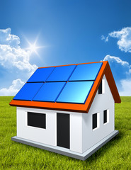green house in the sun with solar panels