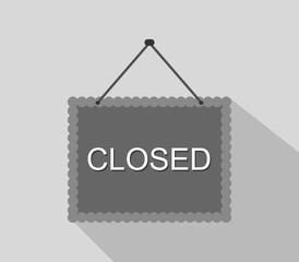 sign closed in flat design