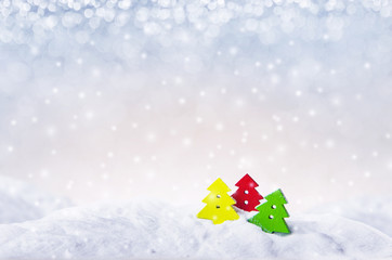 Fototapete - Winter background, Christmas tree on snow and blue lights Christmas background with falling snowflakes, copy space. For a greeting or message about promotions and sales.