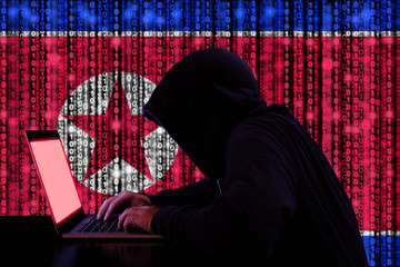 Hacker from north korea at work cybersecurity concept