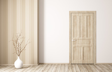 Interior of room with wooden door 3d rendering
