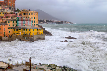 Rough sea in the village with color houses / Genoa/ Italy