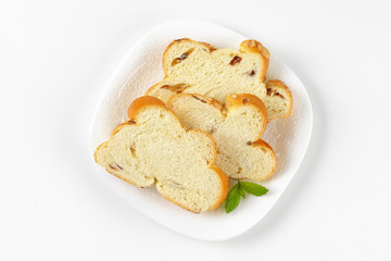 slices of Christmas sweet braided bread