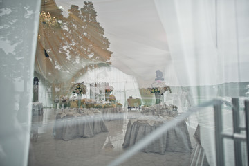 The luxury table on  the wedding