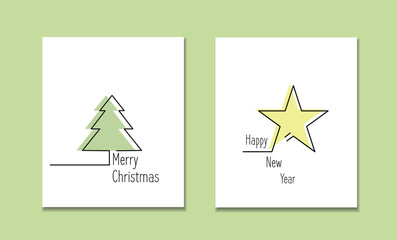 Line style logotype template with christmas tree and star .