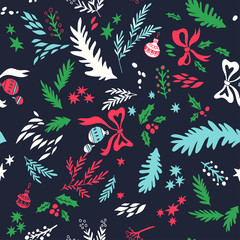 Happy New Year texture. Vector seamless pattern with Christmas symbols. Hand drawn illustration with floral elements and christmas balls. Doodle style