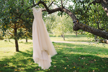 beige handmade casual wedding dress hang on the tree branch in the garden