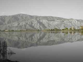view from diaz lake near lone pine, california