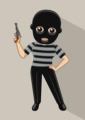 Cartoon Thief with Gun