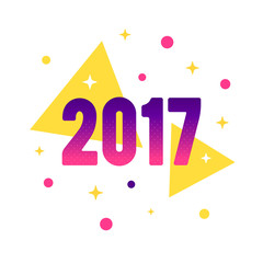 New Year 2017 flat style design concept for greeting card and banner. Vector festive illustration