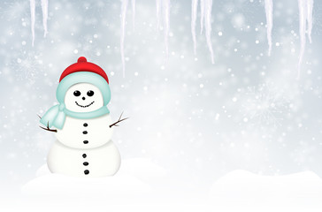Winter landscape with smiling snowman and icicles