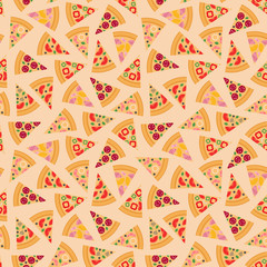 Pizza pieces vector seamless pattern.