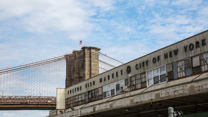 Old Fulton Fish Market with Brooklyn Bridge City of New York