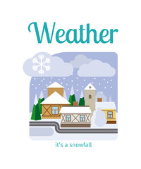 Different weather in the town illustration. Its a snowfall