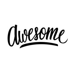 Handwritten word Awesome. Hand drawn lettering. Calligraphic element for your design. Vector illustration.