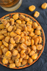 Corn nuts or cornicks a roasted and seasoned maize snack