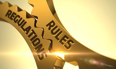 Rules Regulations Concept. Golden Cog Gears. 3D.