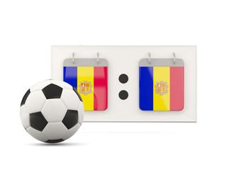 Flag of andorra, football with scoreboard
