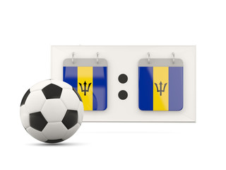 Flag of barbados, football with scoreboard