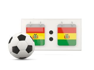 Flag of bolivia, football with scoreboard