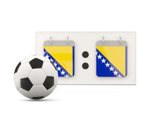 Flag of bosnia and herzegovina, football with scoreboard