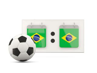 Flag of brazil, football with scoreboard