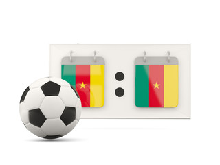 Flag of cameroon, football with scoreboard