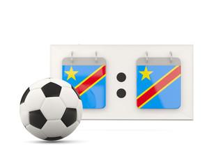 Flag of democratic republic of the congo, football with scoreboa