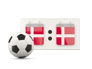 Flag of denmark, football with scoreboard