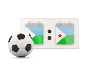 Flag of djibouti, football with scoreboard