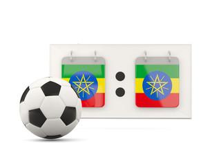Flag of ethiopia, football with scoreboard