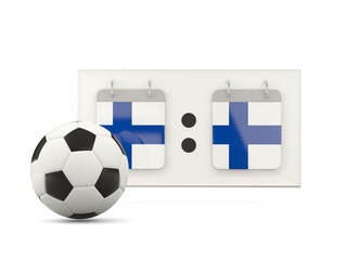 Flag of finland, football with scoreboard