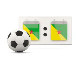 Flag of french guiana, football with scoreboard