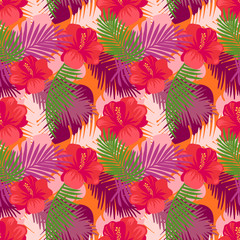 Tropical leaves pattern with flowers. Summer exotic floral palm and  jungle leaves pattern background. Vector illustration.