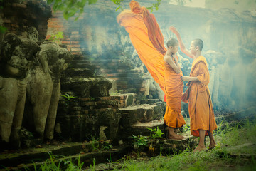 Two Novices at Ayutthaya Historical Park in Thailand