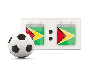 Flag of guyana, football with scoreboard
