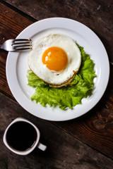 Яичница, завтрак, лёгкий, кофе, домашний
