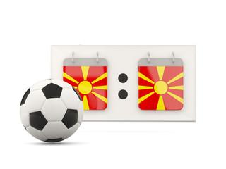Flag of macedonia, football with scoreboard