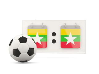 Flag of myanmar, football with scoreboard