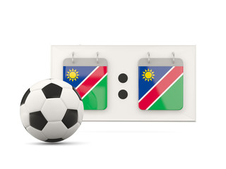 Flag of namibia, football with scoreboard