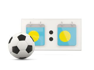 Flag of palau, football with scoreboard